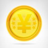 Изолированный объект валюты монетки иен золотой Стоковая Фотография