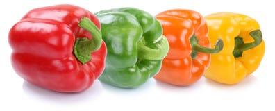 Изолированный овощ паприки собрания болгарского перца в ряд свежий Стоковые Фотографии RF