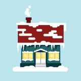 Изолированный дом зимы уютный Время рождества, счастливый Новый Год - vector иллюстрация Ландшафт плоского города снега городской Стоковая Фотография RF
