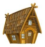 Изолированный дом старого шаржа деревянный -