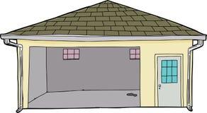 Изолированный одиночный открытый гараж иллюстрация штока
