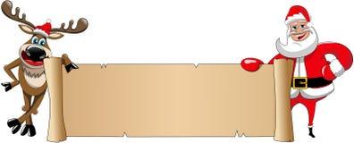 Изолированный пергамент знамени Xmas Санта Клауса северного оленя Стоковое фото RF