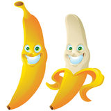 Изолированный персонаж из мультфильма выражения стороны оскала банана Стоковые Изображения
