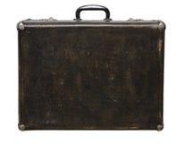 Изолированный поцарапанный винтажный чемодан Брайна на белой предпосылке Стоковые Фотографии RF
