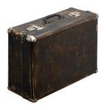 Изолированный поцарапанный винтажный чемодан Брайна на белой предпосылке Стоковые Изображения