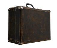 Изолированный поцарапанный винтажный чемодан Брайна на белой предпосылке Стоковое фото RF