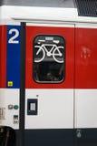 изолированный предпосылкой желтый цвет поезда знака Стоковые Фотографии RF