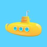 изолированный предпосылкой желтый цвет подводной лодки белый Стоковые Изображения