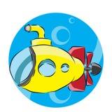 изолированный предпосылкой желтый цвет подводной лодки белый Стоковое Изображение