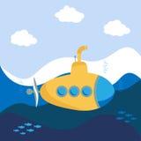 изолированный предпосылкой желтый цвет подводной лодки белый иллюстрация штока