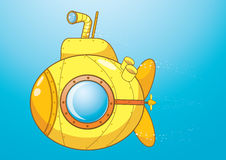 изолированный предпосылкой желтый цвет подводной лодки белый бесплатная иллюстрация
