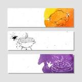 Изолированный рекламировать знамя в бумажном стиле с красочной акварелью пятнает Атрибуты для шеф-повара в кухне и на Стоковое Изображение RF