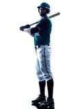 Изолированный силуэт бейсболиста человека Стоковое фото RF
