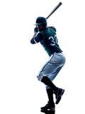 Изолированный силуэт бейсболиста человека Стоковое Фото