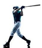 Изолированный силуэт бейсболиста человека стоковые изображения rf