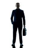 Изолированный силуэт бизнесмена стоящий Стоковая Фотография RF