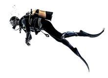 Изолированный силуэт подныривания водолаза акваланга человека Стоковая Фотография