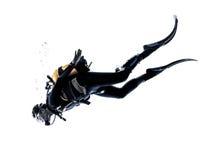 Изолированный силуэт подныривания водолаза акваланга человека Стоковые Изображения RF