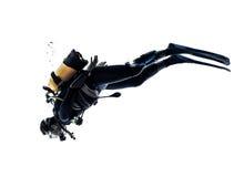 Изолированный силуэт подныривания водолаза акваланга человека Стоковые Фото
