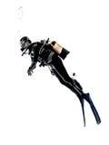 Изолированный силуэт подныривания водолаза акваланга человека Стоковые Изображения