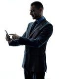 Изолированный силуэт телефона бизнесмена Стоковые Фото