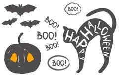 Изолированный силуэт черного кота, тыквы и летучих мышей Стоковое Изображение RF