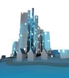 Изолированный современный городской пейзаж на настроении wintertime Стоковые Изображения