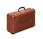 Изолированный старый винтажный пылевоздушный чемодан Брайна Стоковые Изображения