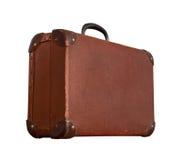 Изолированный старый винтажный пылевоздушный чемодан Брайна Стоковое фото RF