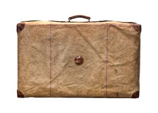 Изолированный старый винтажный пылевоздушный чемодан в крышке Стоковые Фото