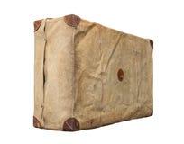 Изолированный старый винтажный пылевоздушный чемодан в крышке Стоковая Фотография RF