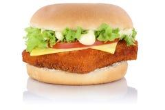 Изолированный сыр гамбургера fishburger бургера рыб Стоковые Изображения RF