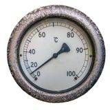 Изолированный термометр с круглой шкалой Стоковая Фотография