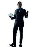 Изолированный телефон таблетки бизнесмена цифровой Стоковая Фотография RF