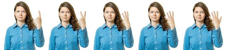 Изолированный установленному подсчитывая девушки на белизне Стоковая Фотография