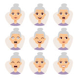 Изолированный установленному смешных выражений воплощения бабушки смотрите на иллюстрацию вектора эмоций Стоковое фото RF