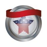 Изолированный флаг США внутри дизайна кнопки Стоковое фото RF