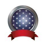 Изолированный флаг США внутри дизайна кнопки Стоковые Изображения RF