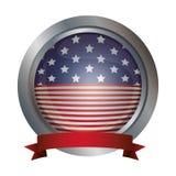 Изолированный флаг США внутри дизайна кнопки Стоковая Фотография RF