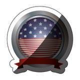 Изолированный флаг США внутри дизайна кнопки Стоковая Фотография