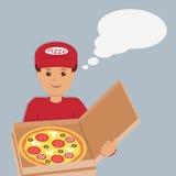 Изолированный характер работника доставляющего покупки на дом пиццы Стоковые Фотографии RF