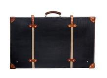 Изолированный черный кожаный чемодан на белой предпосылке Стоковые Изображения