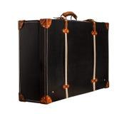 Изолированный черный кожаный чемодан на белой предпосылке Стоковое Фото