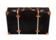 Изолированный черный кожаный чемодан на белой предпосылке Стоковое Изображение