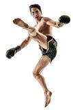 Изолированный человек бокса kickboxer Muay тайский kickboxing стоковые фото