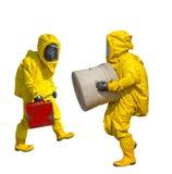 Изолированный человек в желтом защитном костюме hazmat стоковые изображения rf