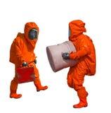 Изолированный человек в оранжевом защитном костюме hazmat стоковые фотографии rf