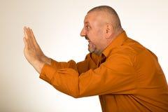 Изолированный человек с нажатием бороды Стоковое Фото