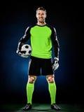 Изолированный человек футбола голкипера Стоковые Изображения RF