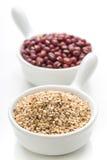 2 изолированный шара фарфора с семенами сезама и azuki Стоковое Изображение RF